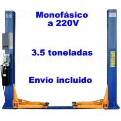 Elevador electrohidraúlico de dos columnas, 3,5 toneladas y desbloqueo manual