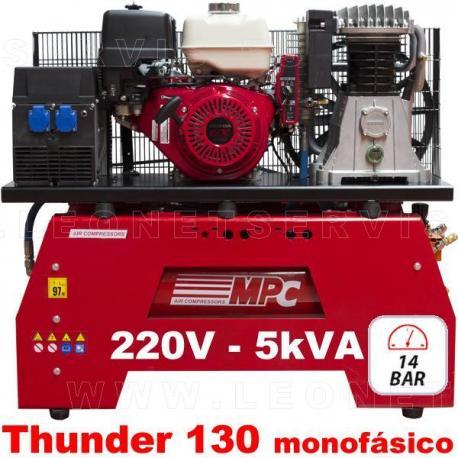 Compresor de aire y generador eléctrico a gasolina para equipos móviles, THUNDER 130