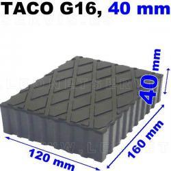 G16 Taco de goma macizo para elevador, altura 40 mm