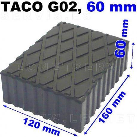 G02 Taco de goma para elevador, altura 60 mm