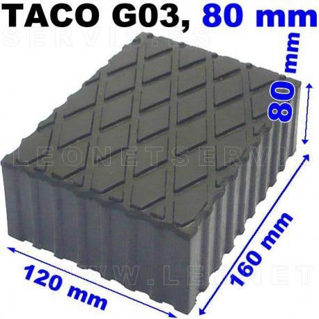 G03 Taco de goma para elevador, altura 80 mm