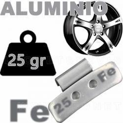 Contrapesa de clip de 25 gr. para llanta de aluminio, 100 uds.