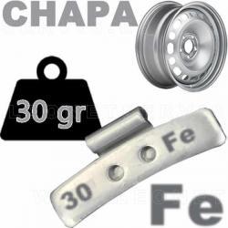 Contrapesa de clip de 30 gr. en HIERRO, para llanta de chapa de acero, 100 uds.