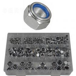 Surtido de tuercas métricas con anillo de retención, 300 piezas
