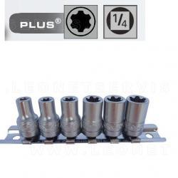 Juego de 6 vasos cortos Torx Plus con cuadradillo de 1/4