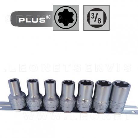 Juego de 8 vasos cortos Torx Plus con cuadradillo de 1/2
