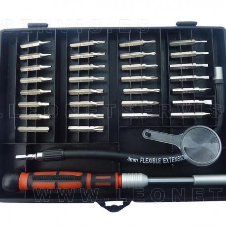Conjunto de destornilladores de precisión con varilla telescópica y flexible