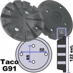 G91 Taco de goma para elevadores Stenhoj, Nussbaum de 122 mm