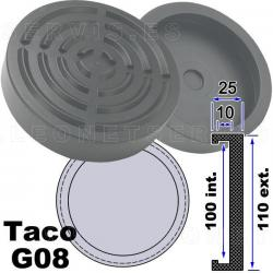 G08 Taco de goma 110mm para elevador Koni, Bradbury, Herkules ,Tecalemit