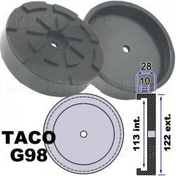G98 Taco de goma de 122 mm para elevador Werther, Oma, Tecalemit