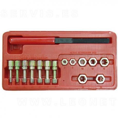 Juego de limas, machos y terrajas para reparar las roscas más habituales