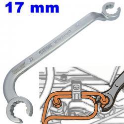 Llave abierta con dos tipos de curvatura para inyectores diesel