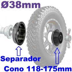 Cono extragrande y separador para 4x4 y pequeño camión. UNIVERSAL para equilibradora de eje 38 mm