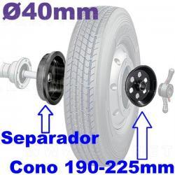 Separador y cono extragrande para rueda gemela. Eje de equilibradora de 40 mm.