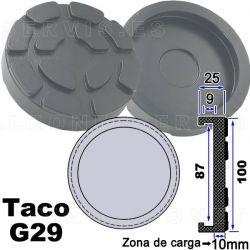 G29 Taco de goma de 100 mm para elevadores Ravagioli, Sirio, Space y otros...