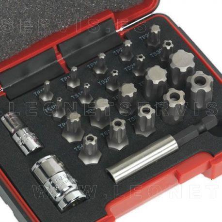 Juego de puntas torx plus y ts plus 23 piezas. Insercion hexagonal de 6 y 8 mm