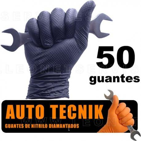 AUTO TECNIK diamantado, guante de nitrilo naranja EXTRA PROFESIONAL. 100 unidades