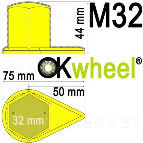 Tapón OKwheel® con indicador inferior de tuercas flojas para ruedas de vehículos industriales.