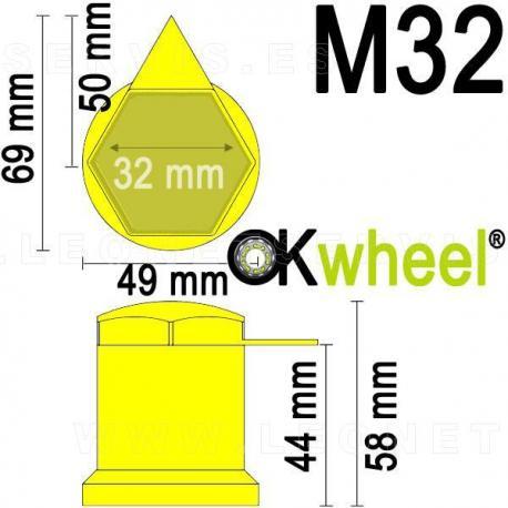 Tapón con indicador superior de tuercas flojas para vehículos industriales.