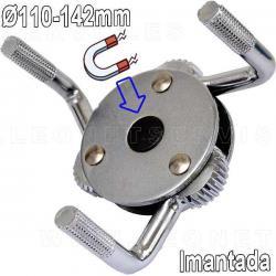 Llave para filtro de aceite con 3 patas magnéticas/imantadas. 110-142 mm