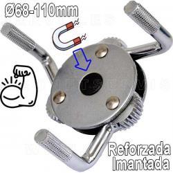 Llave para filtro de aceite con 3 patas magnéticas/imantadas. 68-110 mm