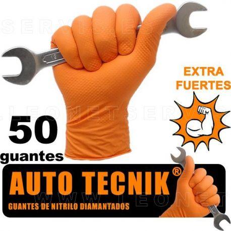 AUTO TECNIK diamantado, guante de nitrilo naranja EXTRA PROFESIONAL