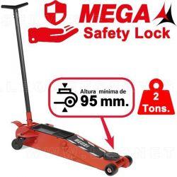 Gato de carretilla MEGA de 2 toneladas BAJO 95 mm. Mecanismo Safety Lock
