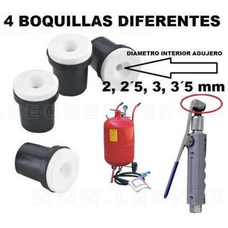 4 boquillas DIFERENTES para arenadora EM044PT