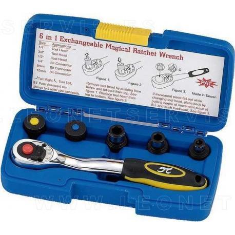 Juego de carraca con cabeza intercambiable 1/4, 3/8, 1/2, puntas 8 mm y 10 mm