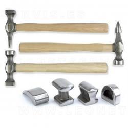 Juego de tases y martillos para chapistas, 7 piezas