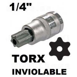 """Vasos cortos 37 mm 1/4"""" con puntas torx inviolables acero crv (50bv30)"""