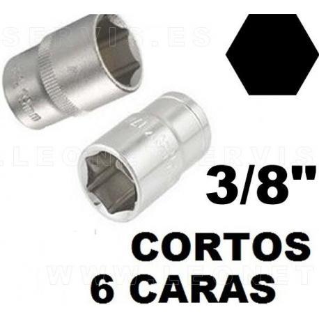 """Vasos cortos  3/8"""", 6 caras acero crv (50bv30)"""