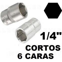 """Vasos cortos 25 mm 1/4"""", 6 caras acero crv (50bv30)"""