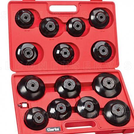 """Vasos para filtros de aceite 3/8"""" y 1/2"""", 15 piezas"""